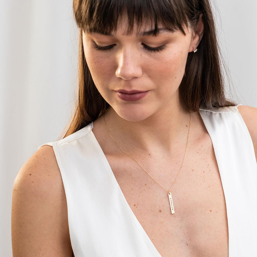 Engraved Vertical Bar Necklace in 10K Solid Gold - 2