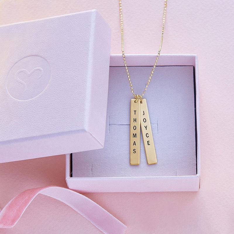 Engraved Vertical Bar Necklace in 10K Solid Gold - 4