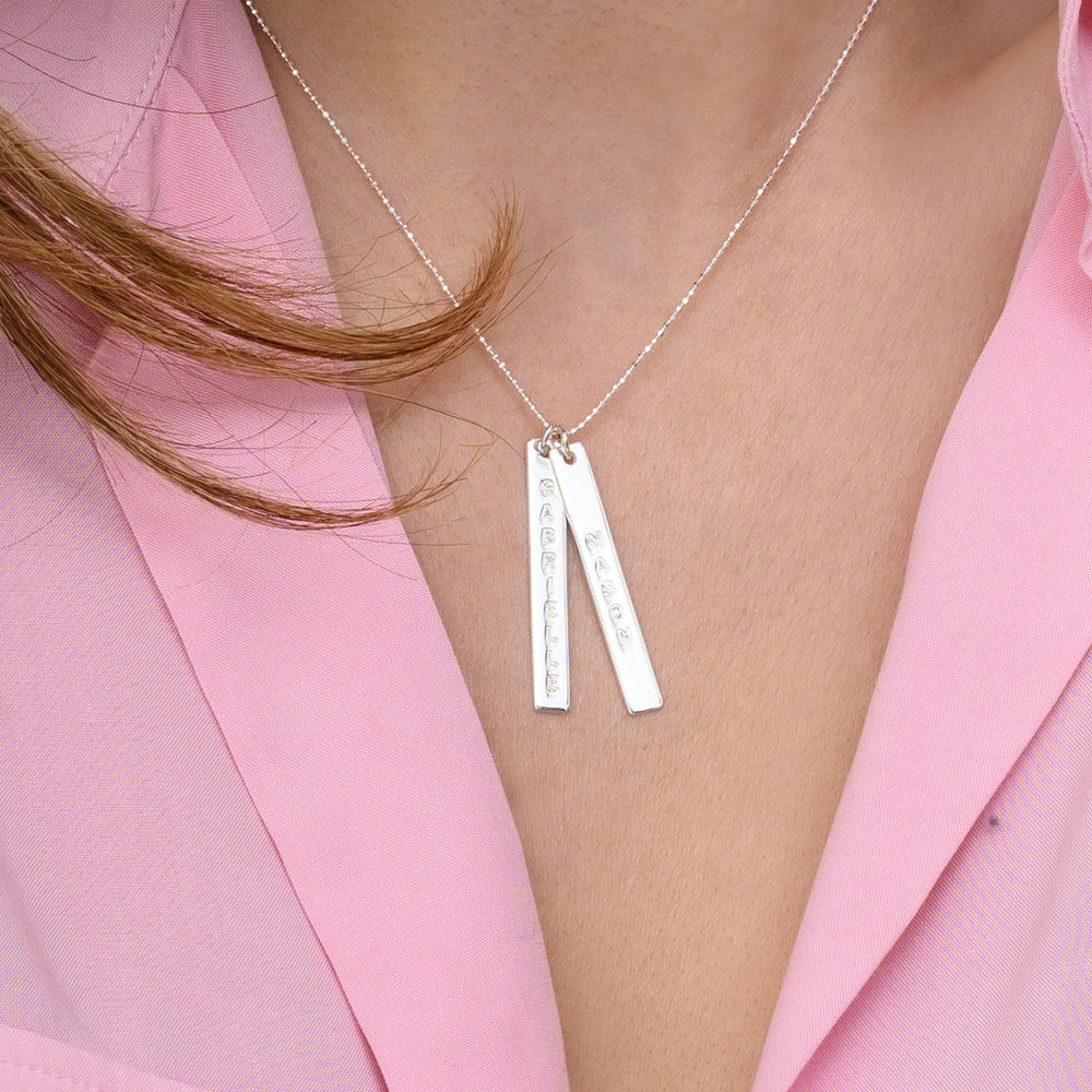 Engraved Vertical Bar Necklace in 10K White Gold - 3