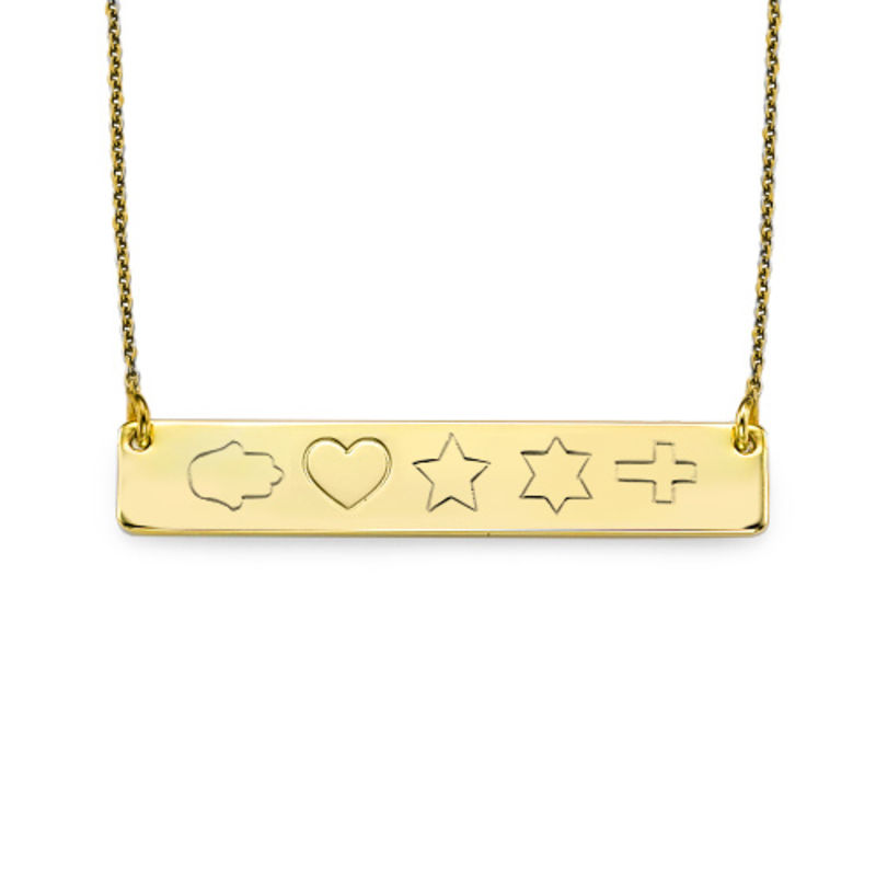 18K Gold Plated Icon Bar Necklace - 2