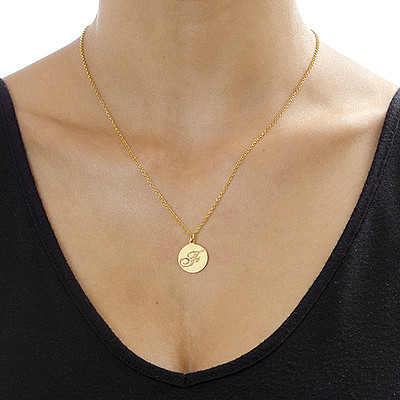 18k Gold Plating Script Initial Necklace - 1