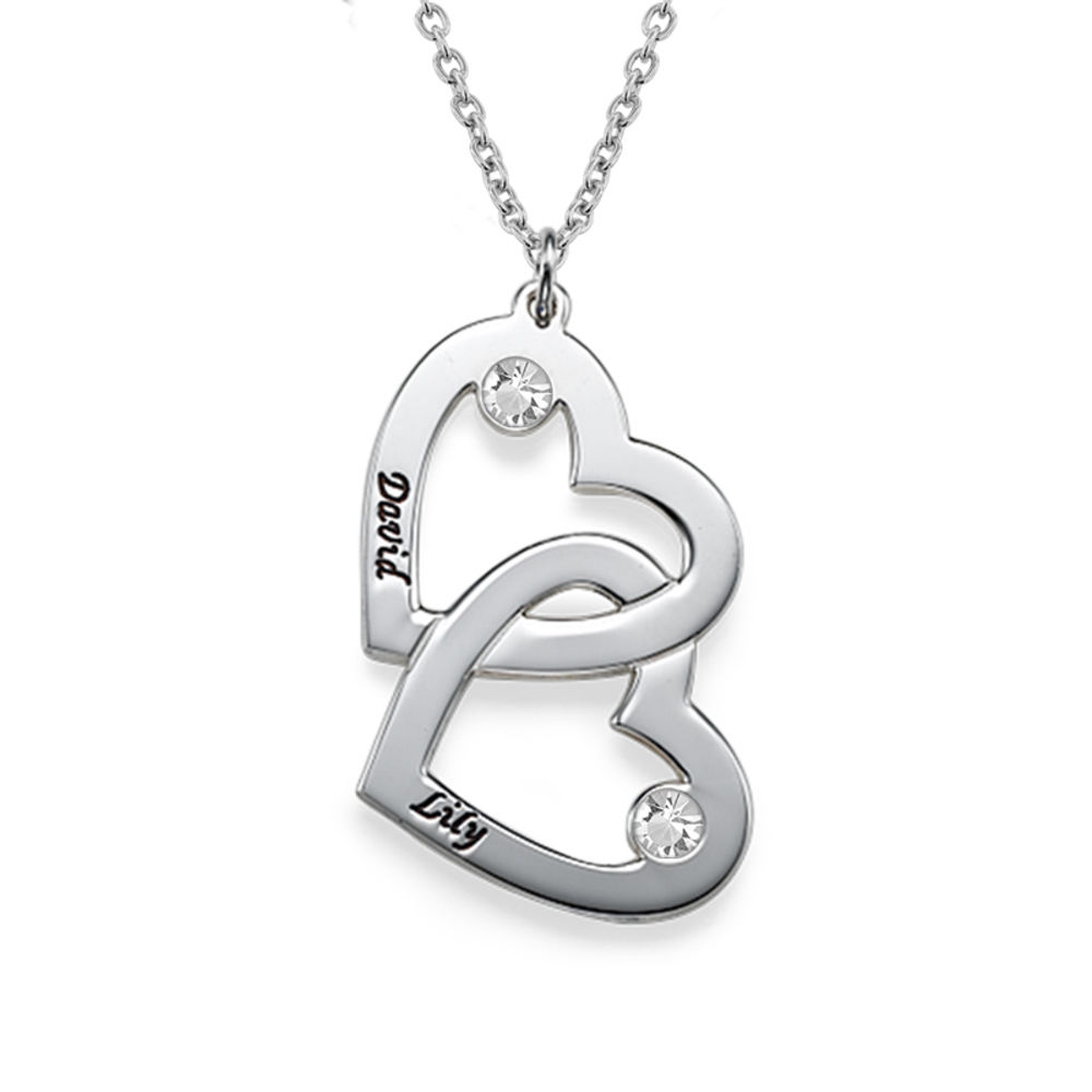 Personalized Silver Heart in Heart Necklace with Birthstones - 1