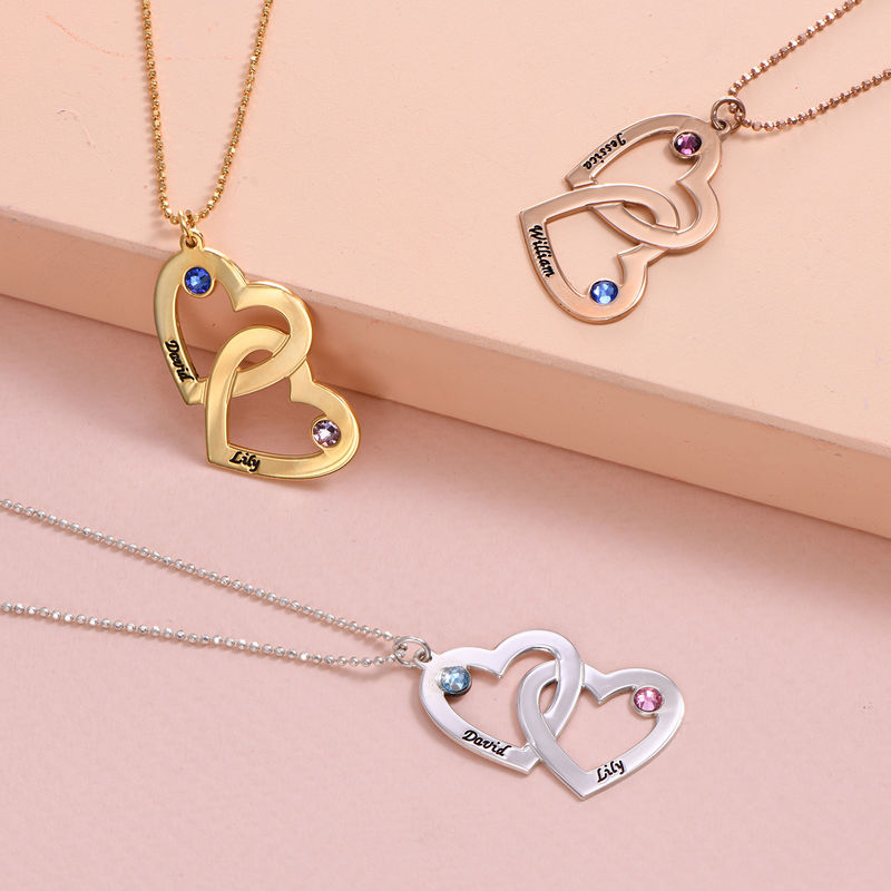 Personalized Silver Heart in Heart Necklace with Birthstones - 2