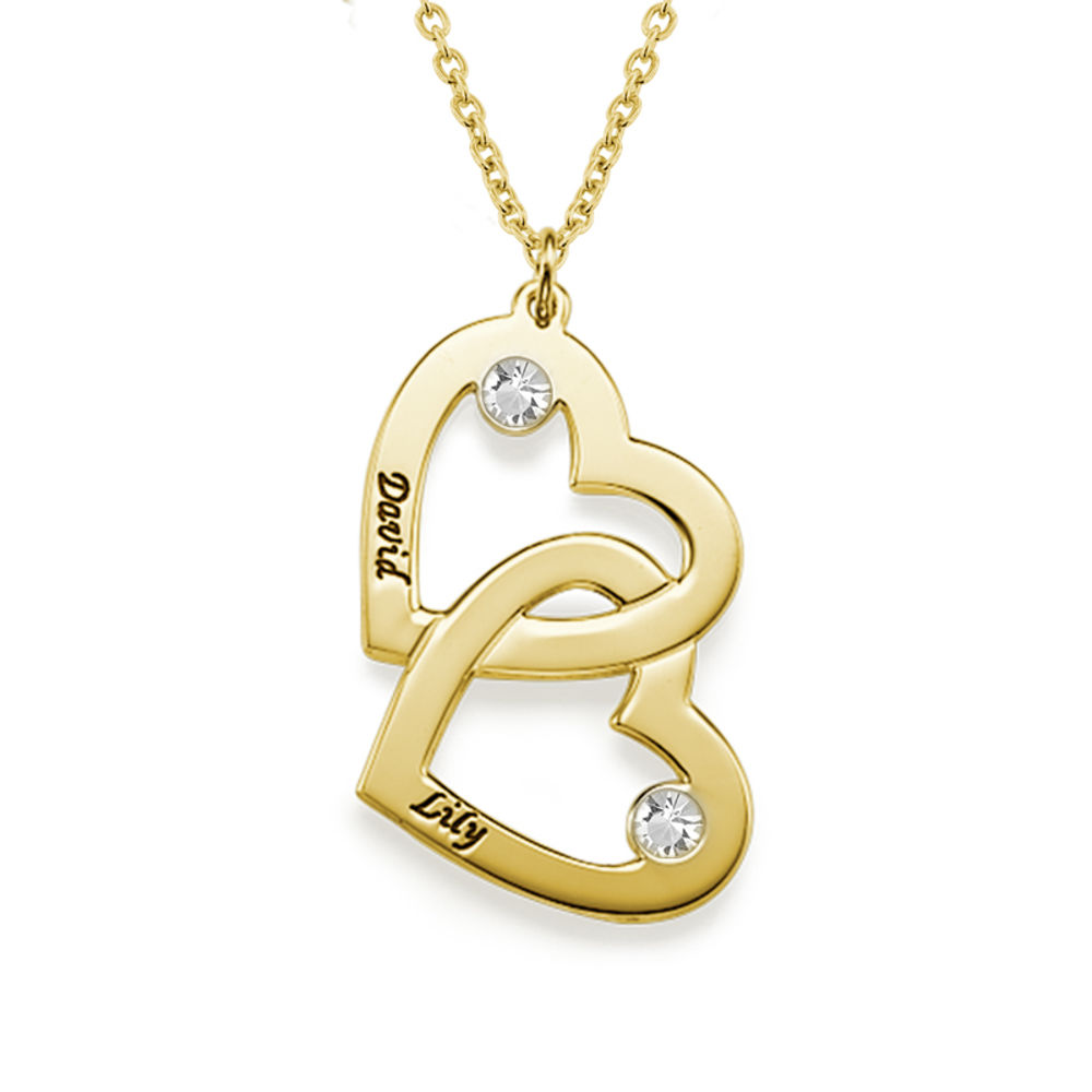 18k Gold-Plated Heart in Heart Necklace with Birthstones - 1