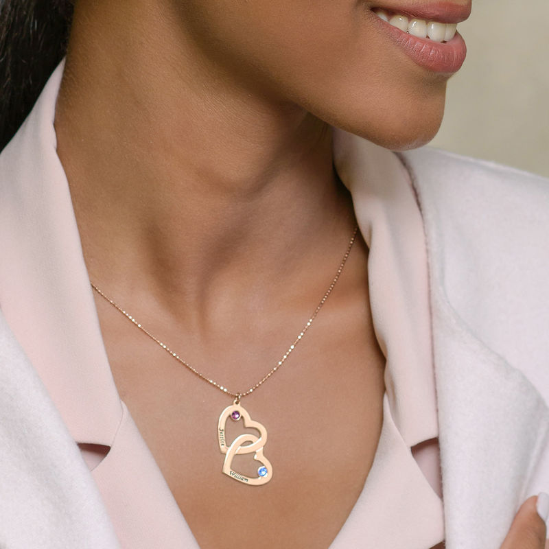 18k Gold-Plated Heart in Heart Necklace with Birthstones - 4