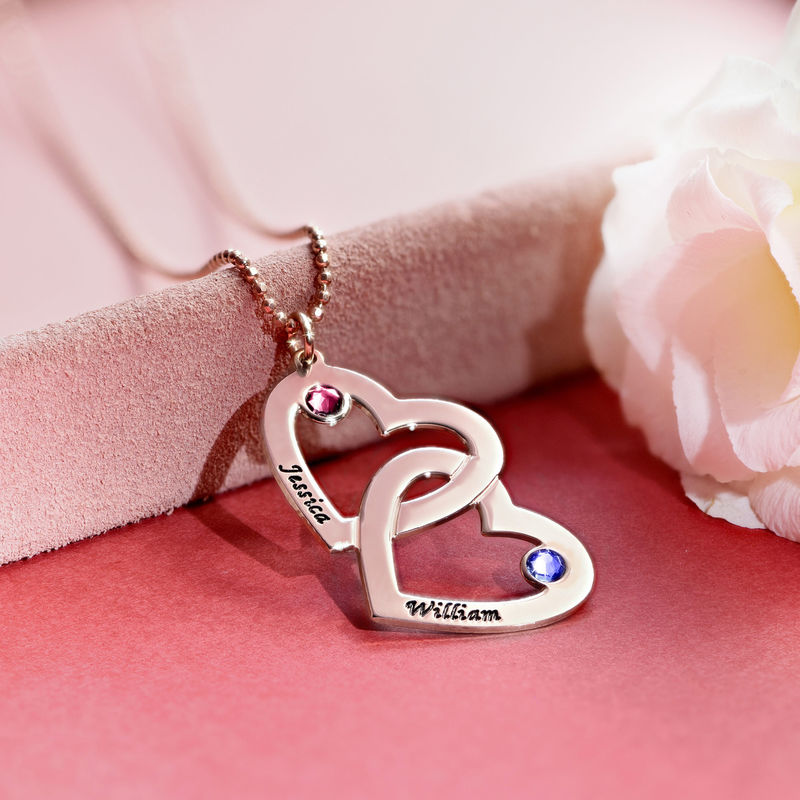 Heart in Heart Birthstone Necklace - Rose Gold Plated - 4