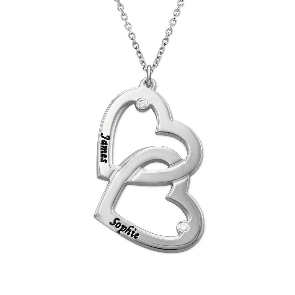 Heart in Heart Necklace in Silver with Diamonds