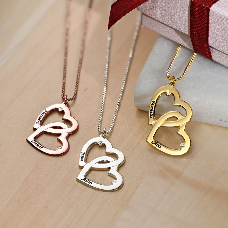 Heart in Heart Necklace in Rose Gold Plating with Diamonds - 1