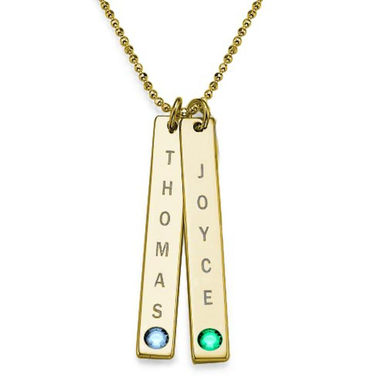 Birthstone Vertical Bar Necklace For Mothers in 18k Gold Vermeil