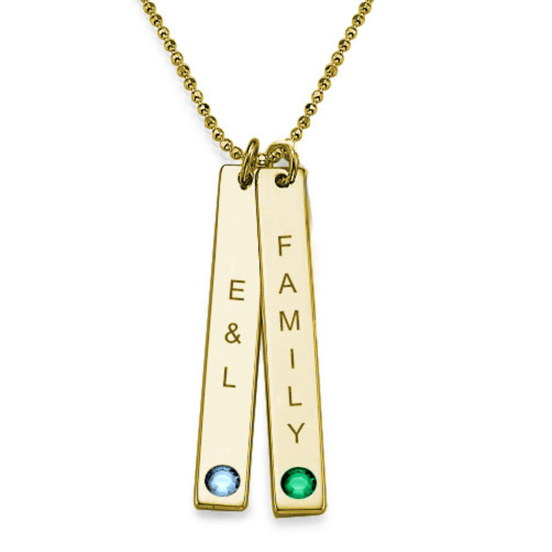 Birthstone Vertical Bar Necklace For Mothers in 18k Gold Vermeil - 1