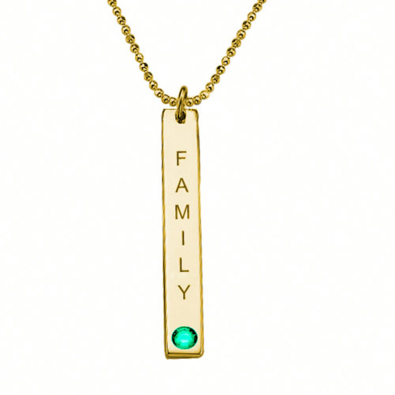 Birthstone Vertical Bar Necklace For Mothers in 18k Gold Vermeil - 2