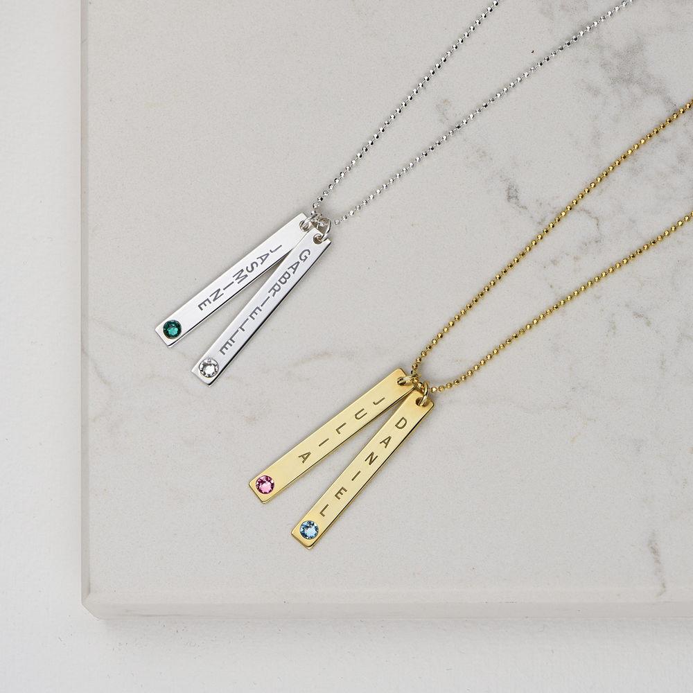Swarovski Vertical Bar Necklace For Mothers in 18k Gold Vermeil - 3