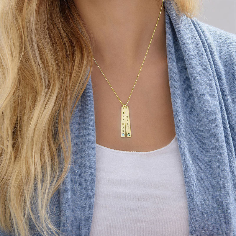 Birthstone Vertical Bar Necklace For Mothers in 18k Gold Vermeil - 5