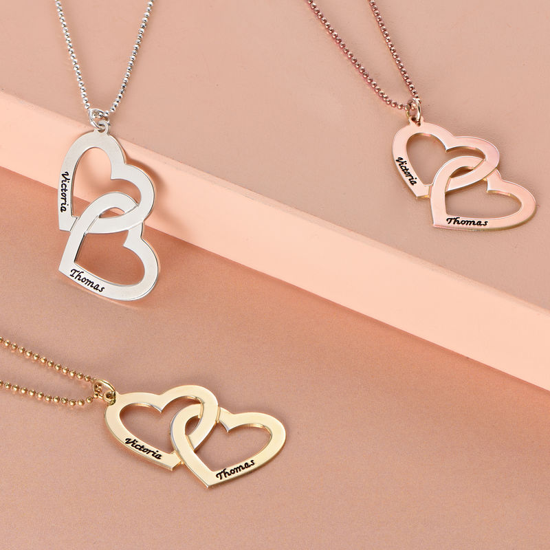 18k Gold Plated Heart in Heart Necklace - 1
