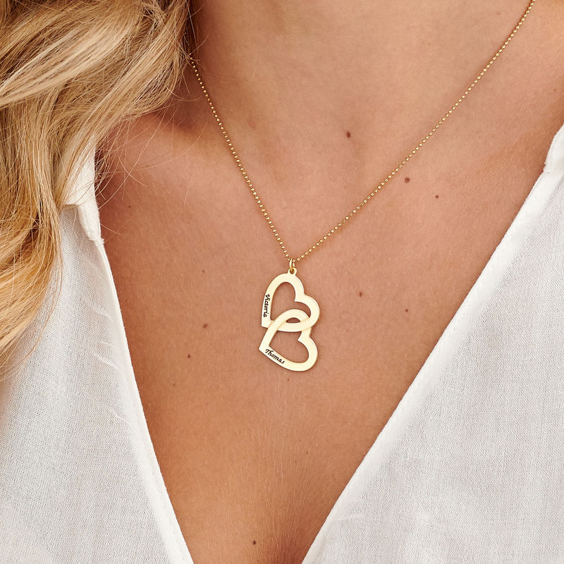 18k Gold Plated Heart in Heart Necklace - 3