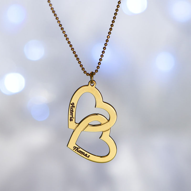 18k Gold Plated Heart in Heart Necklace - 4