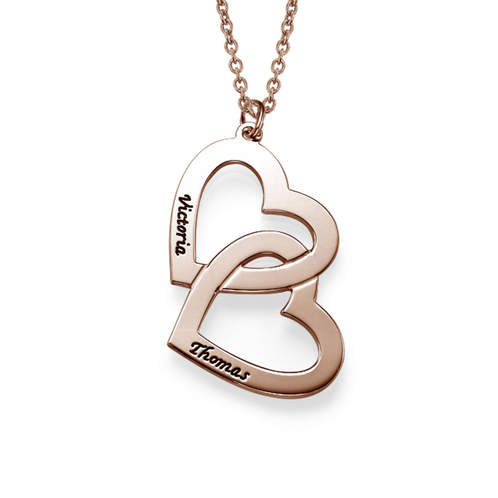 Heart in Heart Necklace in Rose Gold Plating