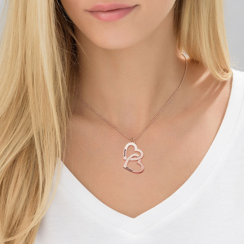 Heart in Heart Necklace in Rose Gold Plating - 2