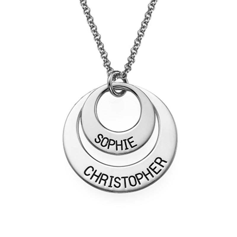 Moms Personalized Disc Necklace in Sterling Silver
