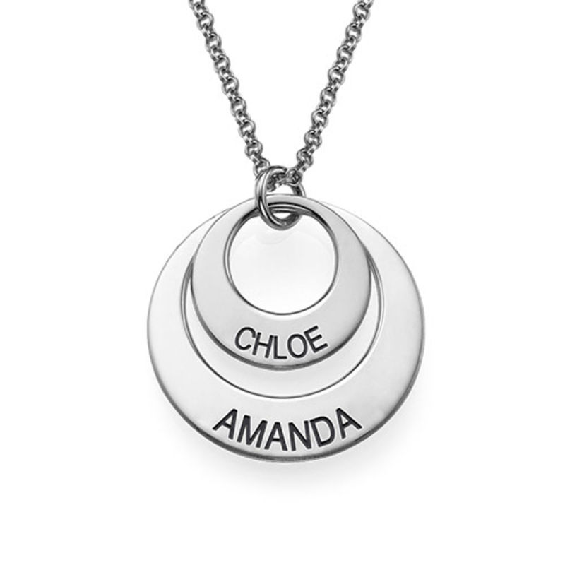 Moms Personalized Disc Necklace in Sterling Silver - 2