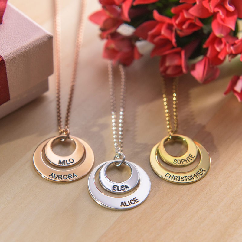 Moms Personalized Disc Necklace in Sterling Silver - 3