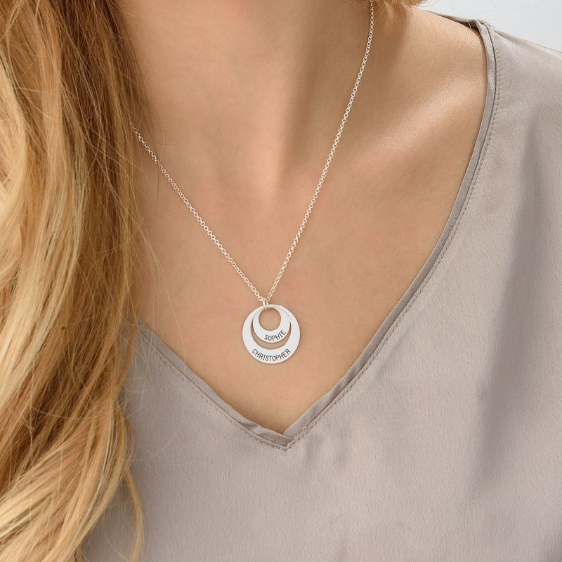 Moms Personalized Disc Necklace in Sterling Silver - 5