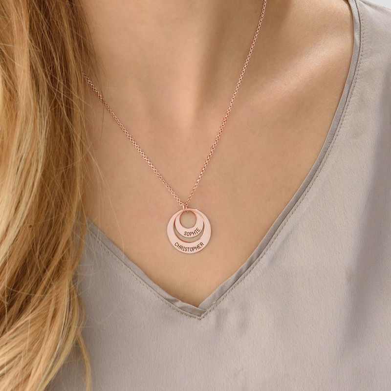 Personalized Jewelry for Moms – Disc Necklace in Rose Gold Plating - 5