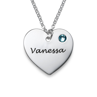 Personalized Heart Necklace with Birthstone Accent