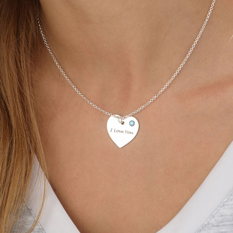 Personalized Heart Necklace with Birthstone Accent - 2