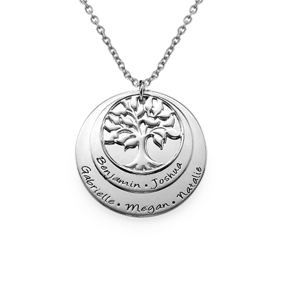 Silver Family Tree Necklace with Layers