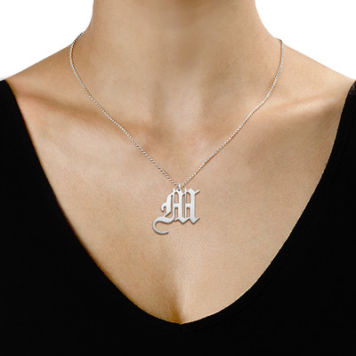 Sterling Silver Gothic Initial Necklace - 1