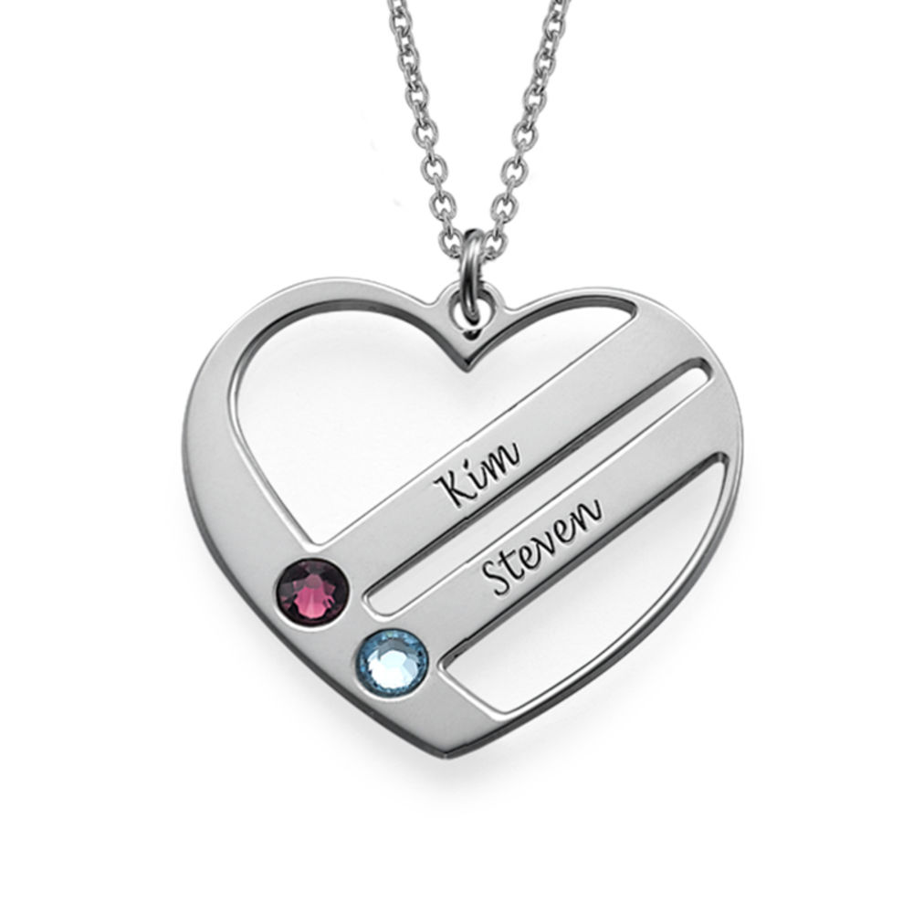 Birthstone Heart Necklace with Engraved Names - 1