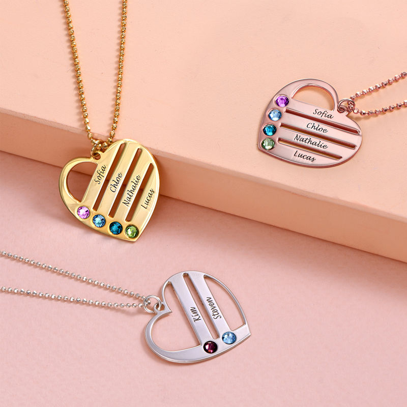 Birthstone Heart Necklace with Engraved Names - 2