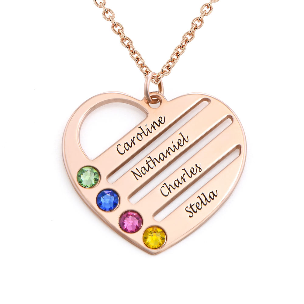 Birthstone Heart Necklace with Engraved Names - Rose Gold Plated
