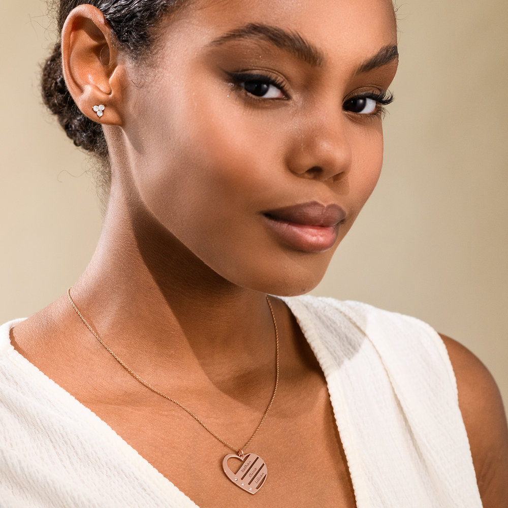 Heart Necklace with Engraved Names with Diamond in Rose Gold Plating - 2