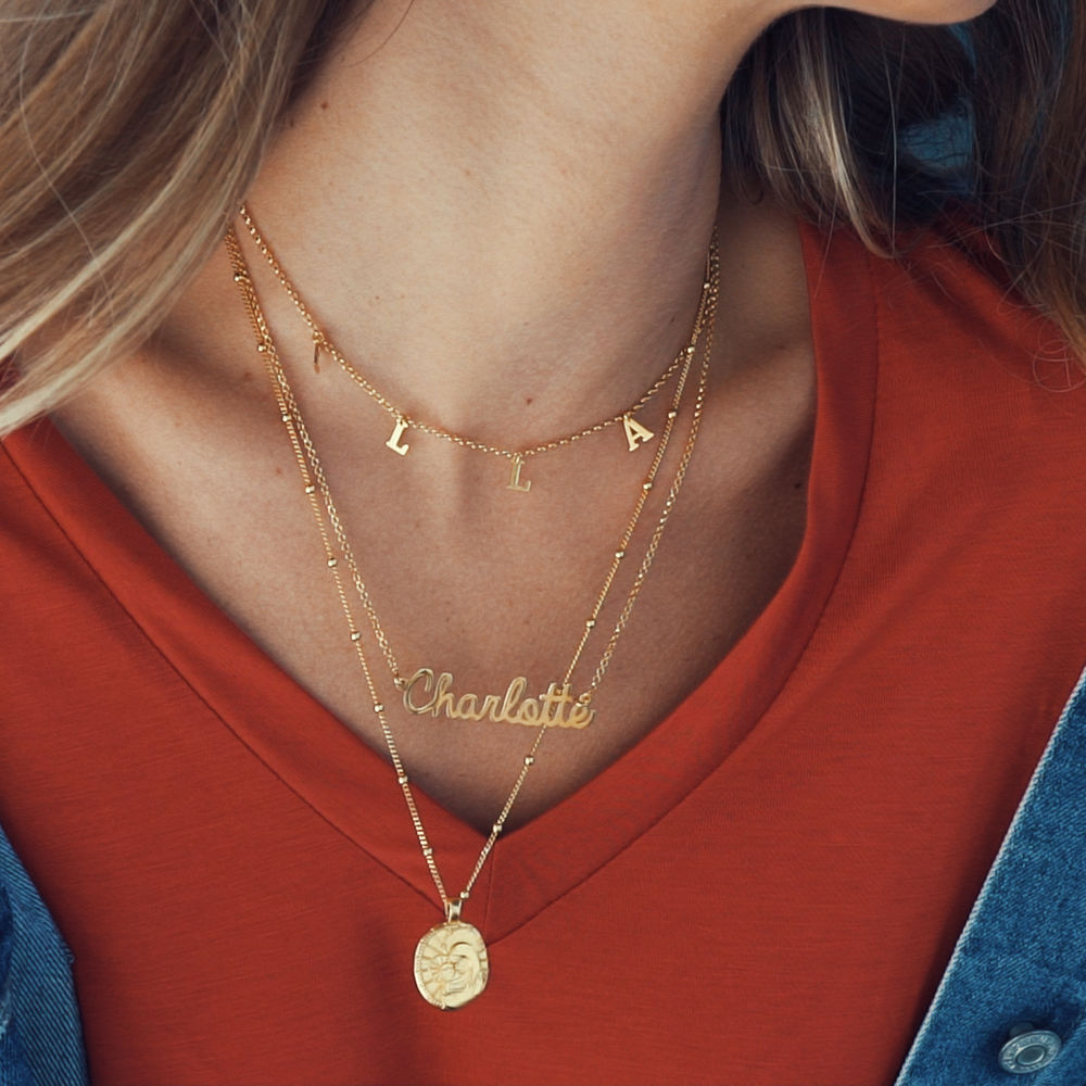 Personalized Jewelry - Cursive Name Necklace in Vermeil - 1