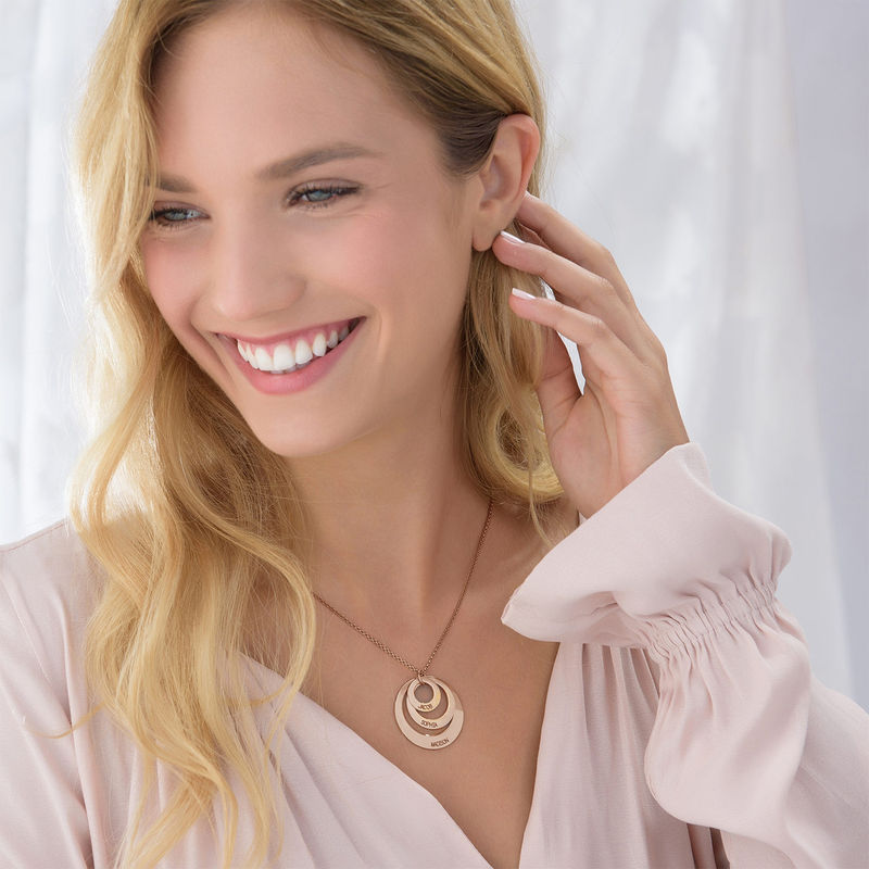 Jewelry for Moms - Three Disc Necklace with Rose Gold Plating - 4