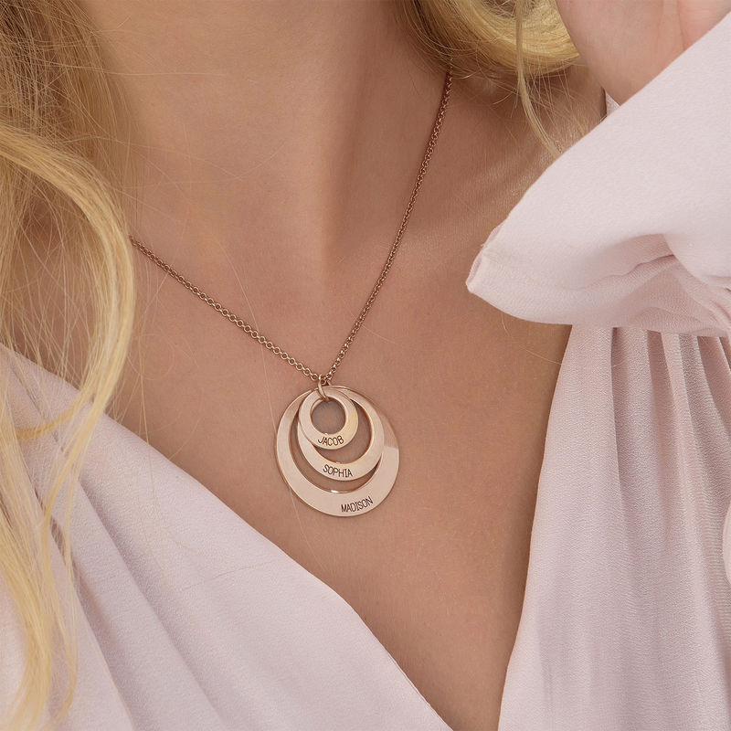 Jewelry for Moms - Three Disc Necklace with Rose Gold Plating - 5