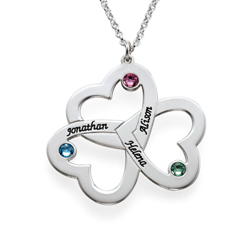 Personalized Triple Heart Necklace - Sterling Silver