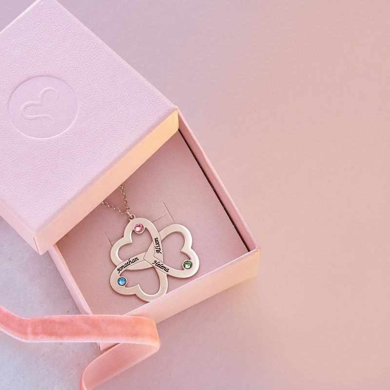 Personalized Triple Heart Necklace with Rose Gold Plating - 4