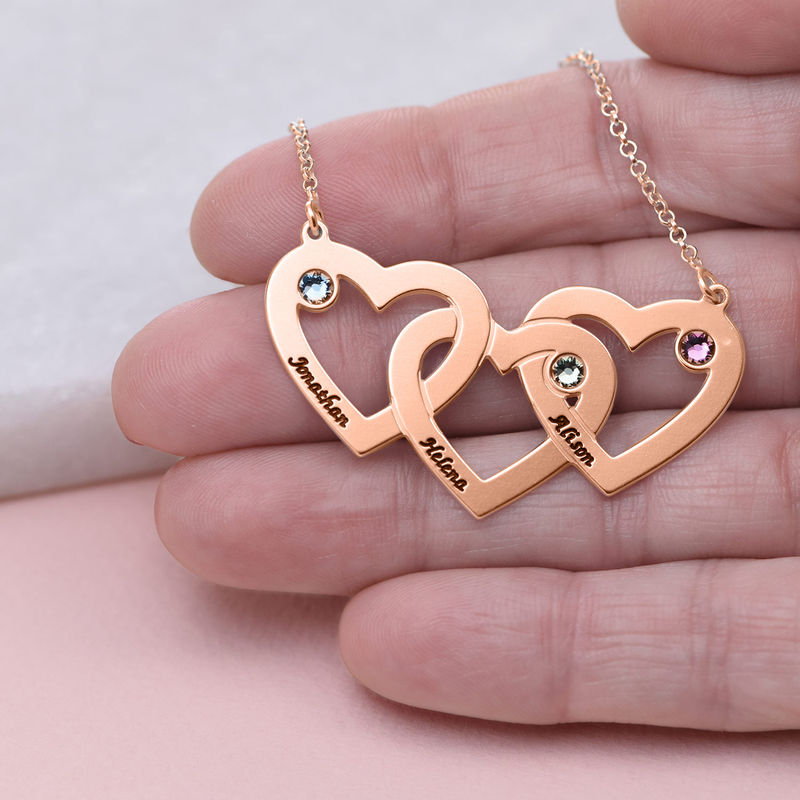 Intertwined Hearts Necklace with Birthstones - Rose Gold Plated - 3