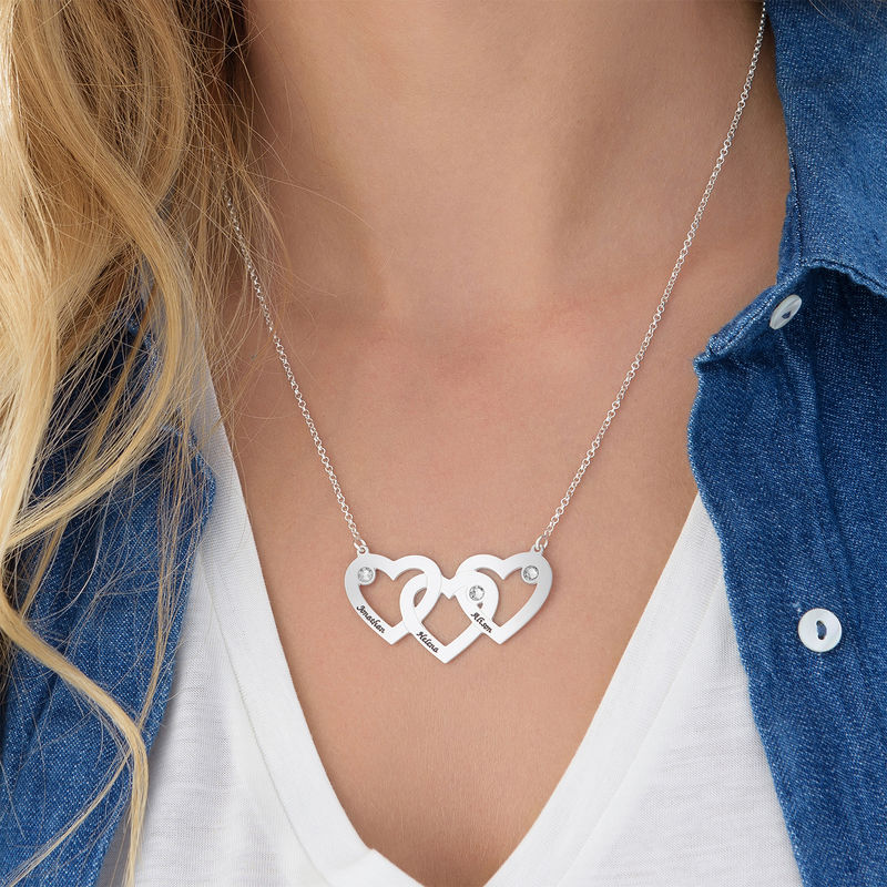 Intertwined Hearts Necklace with Diamonds in Sterling Silver - 1