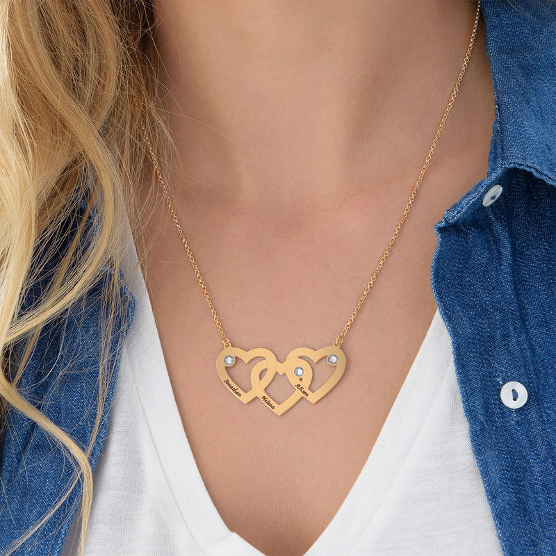 Intertwined Hearts Necklace with Diamonds in 18K Gold Plating - 1