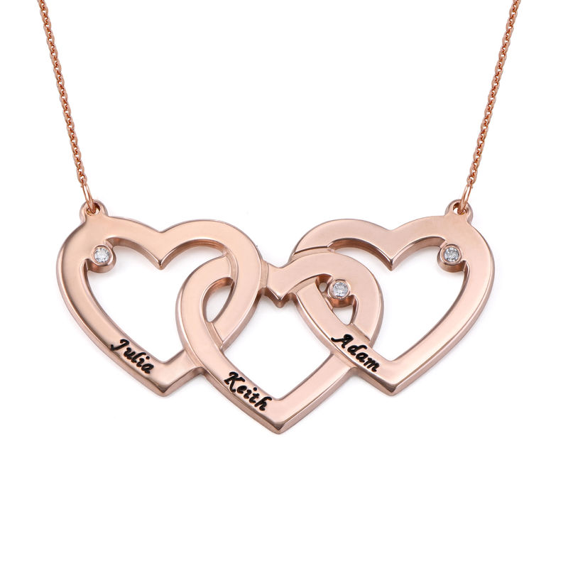 Intertwined Hearts Necklace with Diamonds in 18K Rose Gold Plating