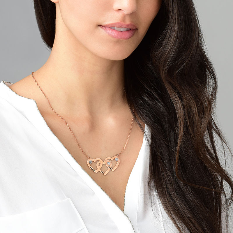 Intertwined Hearts Necklace with Diamonds in 18K Rose Gold Plating - 1