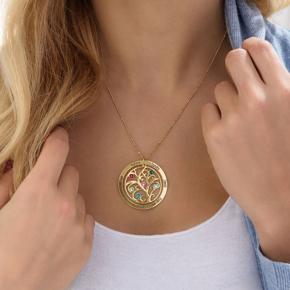 Family Tree Birthstone Necklace - 10K Yellow Gold - 4