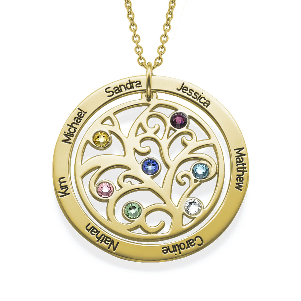Family Tree Birthstone Necklace in 18K Gold Vermeil