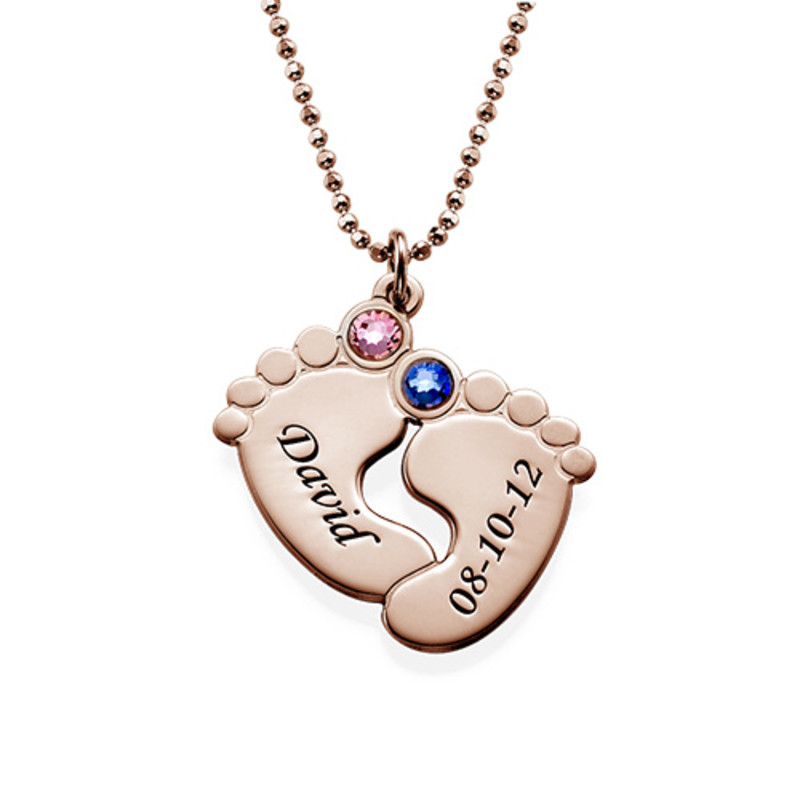 Personalized Baby Feet Necklace with Birthstones - Rose Gold Plated
