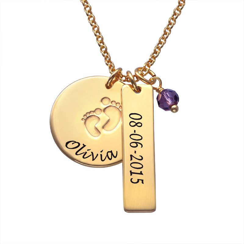 New Mom Jewelry - Baby Feet Charm Necklace with Gold Plating