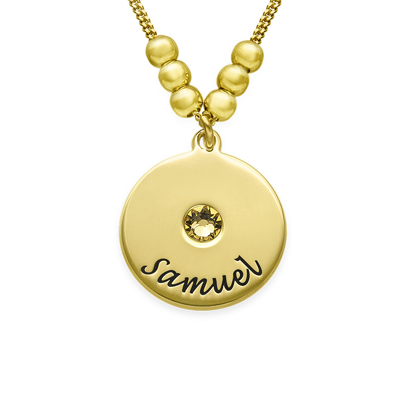 Mothers Disc and Birthstone Necklace in 18k Gold Plated - 1